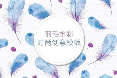 小清新羽毛水时尚创意模板彩