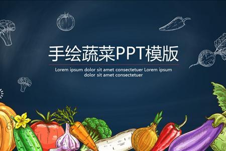 小清新手绘风蔬菜PPT模版