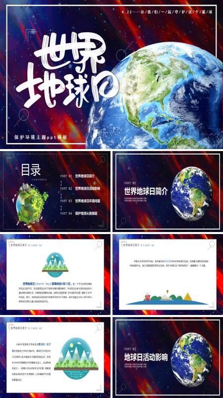 世界地球日介绍PPT模板